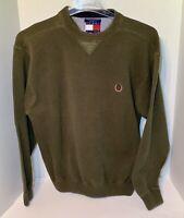 Tommy Hilfiger Cotton Knit Sweater Mens Size Large Green Crest Logo Vintage 90s