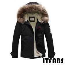 New Men Winter Warm Thick Fur Collar Hooded Fleece Lined Outerwear Jacket Coat