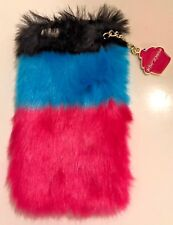 New BETSEY JOHNSON Trolls iPhone 6/6S Cell Phone Case Faux Fur Cupcake Keychain