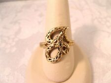 14K GOLD INITIAL RING G LETTER DIAMOND CUT VINTAGE 1983 MA 3.6GR SIZABLE 10