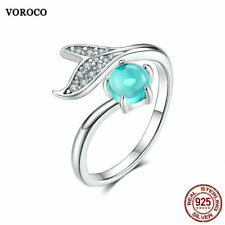 VOROCO 925 Sterling Silver Open Rings Blue Crystal Mermaid's Tear Wedding Gifts