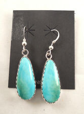 Contemporary Navajo Handmade Turquoise Earrings Set In Sterling Silver