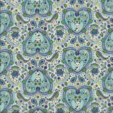 Pandas in Aqua Love Hearts Paisley Flowers Quilting Fabric FQ or Metre *New*