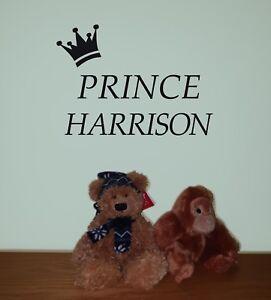 Prince Crown Personalised Name Vinyl Sticker Room/Wall/Nursery/Door