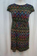 Ellen Tracy Dress Sz 16 Black Multi Color Short Sleeve Geometric Print Business