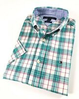 TOMMY HILFIGER Shirt Men's Short Sleeve Poplin Green/ Pink Check Classic Fit