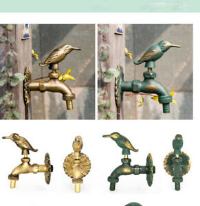 Outdoor Animal Brass Vintage Style Garden Wall Mounted Water Taps Faucets Bird