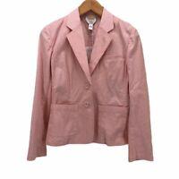 Talbots Womens Suit Jacket Pink White Stripe Stretch Long Sleeve Blazer S 6 New