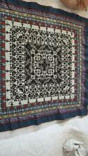 """37""""VINTAGE INDIA ETHNIC SYMBOLS HAND WOVEN RUG ALTAR TABLE CLOTH,FLORAL,TRIBAL,"""