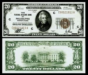 1929 $20 THE FEDERAL RESERVE BANK OF PHILADELPHIA.PA  ~ ~UNCIRCULATED