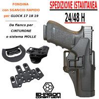 Fondina in polimero per Glock 17 18 19 SGANCIO RAPIDO da fianco cinturone MOLLE