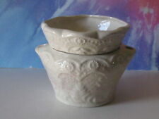Med Lace White With Touch Of Pink African Violet Ceramic Pot/Planter