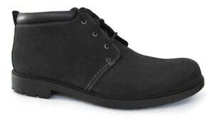 CLARKS OAKDALE MEN'S BLACK NUBUCK WATERPROOF BOOTS Size 13 #62190