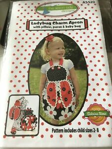 Sewing Pattern Ladybug/Ladybird Child's Apron Pillow Purse & Baby Bug/Bird New