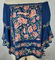 Francescas Blue Rain Womens Large Blue Floral Off Shoulder Bell Sleeve Top
