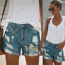 Women's Ripped Denim High Waisted Shorts Jeans Holiday Casual Slim Fit Hotpants