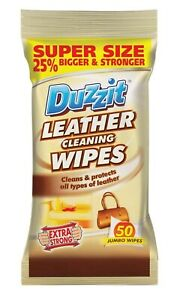 Duzzit Leather Cleaning Wipes Sofa Chair Bag Settee Cleaner Protector Remover
