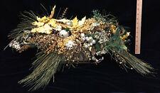 """Christmas Centerpiece Artificial Pine Cones Boughs Gold Poinsettia 25"""" Basket"""