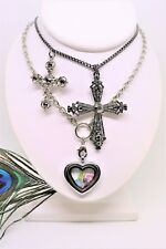 Lot of 3 Costume Necklaces 2 Large Crosses & Magnetic Heart w/ genuine gemstones