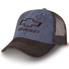 Chevrolet Bowtie Washed Dark Blue and Dark Brown Mesh Hat