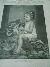 Jeu d'enfant Petite fille avec une peau de Tigre Gravure 1880