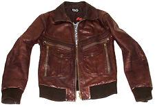 Homme d&g dolce & gabbana cuir blouson cuir motard marron vieilli Veste Manteau 38R