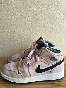 Air Jordan 1 Mid (GS) Pink Foam White Grade School Size 6.5Y Sneakers 555112 601