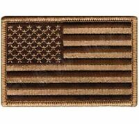 AMERICAN FLAG EMBROIDERED PATCH CAMO BROWN TAN USA US Fastener