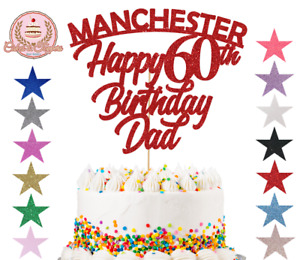 Manchester Cake Topper Personalise Happy Birthday Any Name Age Glitter Topper