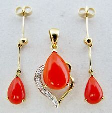 Honest Red Coral Oval Gem Silver Plated Designer Necklace Earring Set Jewelry Engagement & Wedding