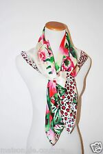 AUTHENTIC KENZO SQUARE 34X34 FLOWER FLORAL PINK SILK BRIGHT ITALY WOMEN SCARF