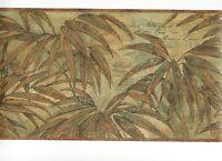 Tropical Golden Leaves on Green Wallpaper Border S5218B
