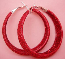 "E1034F Dull Polish Red Hoop Earrings Diameter 1.77"" Fashion Girl/Lady Jewelry"
