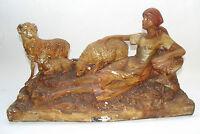 ANCIENNE STATUE PLÂTRE POLYCHROME FEMME BERGÈRE MOUTON ART NOUVEAU 1900 SIGNE