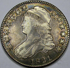 1821 O-104 Capped Bust Half Dollar Nice EF+...with some Attractive Album Toning!