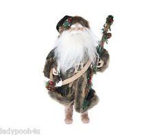 "17.5"" Elegant Tabletop Santa w/Faux Fur Trim Shindler"