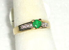SOLID    14K  Gold   EMERALD   Diamond   Fashion  Ring