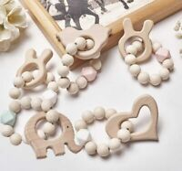 Baby Teething Bracelets Wooden Teether Silicone Beads Rattles Toys Shower Gifts