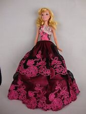 Black and Pink Gown with Pink Boa Strapless Made to Fit Barbie Doll