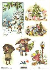 Rice Paper for Decoupage Scrapbooking, Christmas Vintage Santa A4 ITD R455