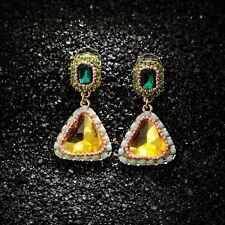 Boucles d/'oreilles CLIP ON Linéaire Ovale Long Multicolore Rouge Vert Jaune X31