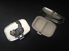 Standing Cat A40 English Pewter on Emblem Rectangular Travel Metal Pill Box