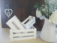 SET 3 SHABBY CHIC WHITE WOODEN VINTAGE STYLE MINI CRATE NESTED BOXES – FRENCH