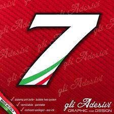 Adesivo Stickers NUMERO 7 moto auto cross gara Bianco & Tricolore 5 cm