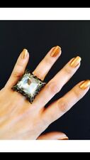 victorian style square crystal ring,large crystal ring,large ring,cocktail ring.