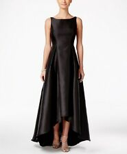 $344 Adrianna Papell Black Boat Neck High Low Ball Gown Formal Dress Size 12