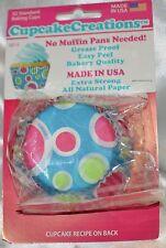 """2"""" Cupcake Creations Baking cups No Pan needed Polka Dots Pink Green Blue"""