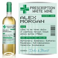 PERSONALISED Prescription White Wine label, fun Birthday gift idea