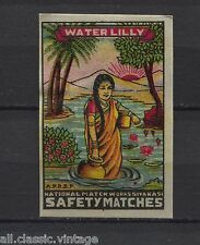 Water Lily National Match Works Sivakasi Indian Vintage Matchbox Label