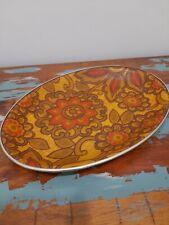 More details for arnold designs small fibreglass oval tray 60s 70s orange floral  retro vintage